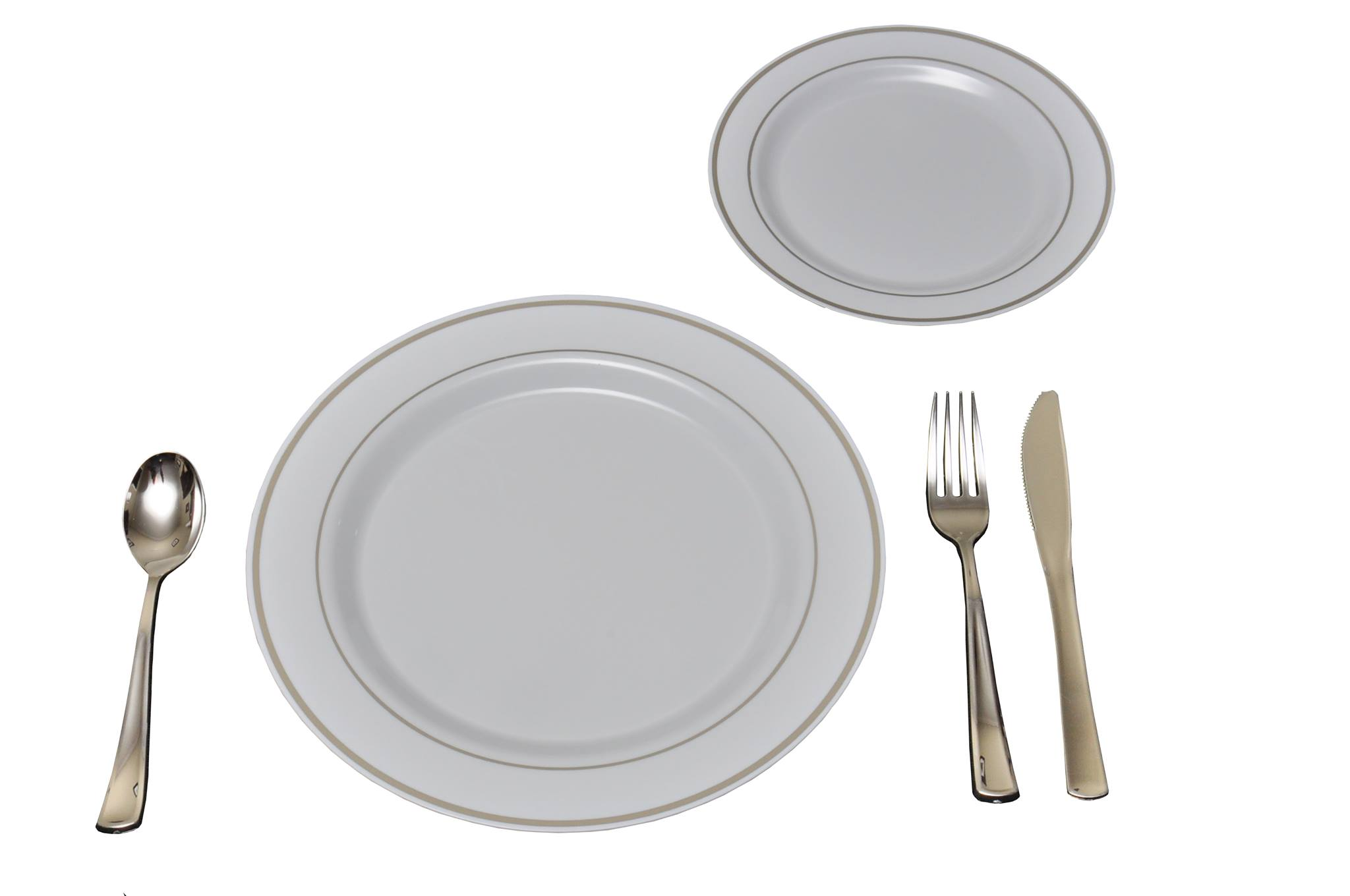 25 Heavyweight Elegant Plastic Disposable Place Settings 25 Dinner Plates 25 Salad or Dessert Plates \u0026 25 Polished Silver Plastic Forks Knives \u0026 Spoons ...  sc 1 st  Precisely Plastic & 25 Heavyweight Elegant Plastic Disposable Place Settings: 25 ...