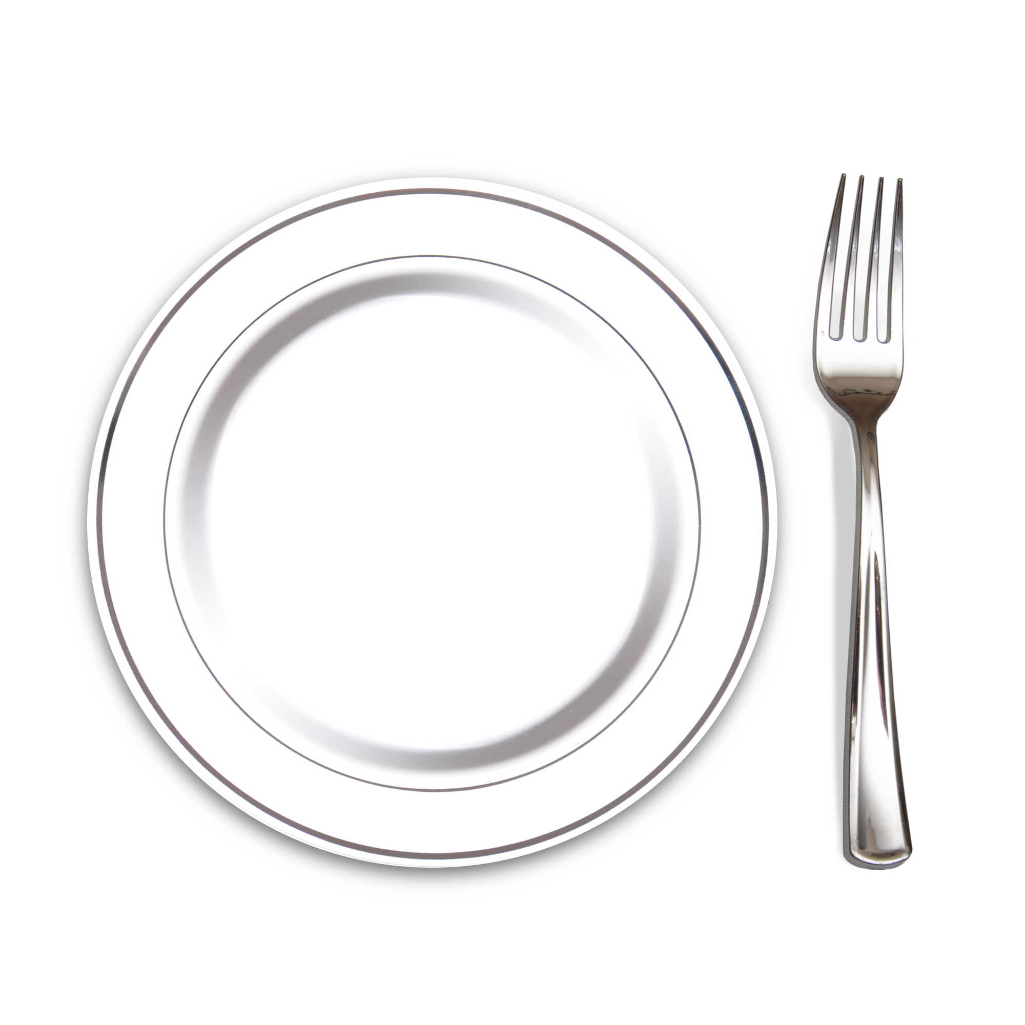 100 Heavyweight Elegant Plastic Disposable 7.5u201d Small Plates u0026 100 Silver Plastic Forks Perfect for Salads Desserts Tapas Appetizers Hors du0027 oeuvres ...  sc 1 th 225 : disposable cutlery and plates - pezcame.com